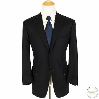 Isaia Midnight Blue S170s Sciammeria Wool Flannel Heavy 3/2 Roll Suit 42R