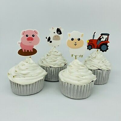🐮12x Animal Farm Barn Cupcake Toppers Picks.Wild Party Supplies Lolly Loot Bags](Farm Animal Cupcake Toppers)