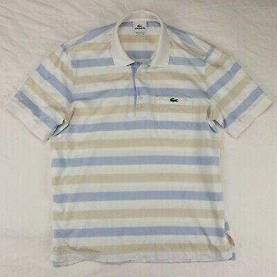 Lacoste Men's Striped Polo Collared Shirt Size 4
