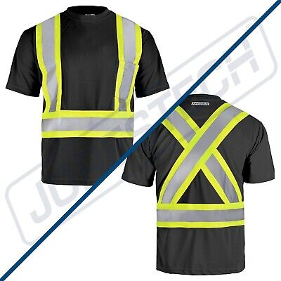 Hi Vis Black Shirt ANSI Class 1 Reflective Safety Short Sleeve HIGH VISIBILITY Class 1 Safety Vest