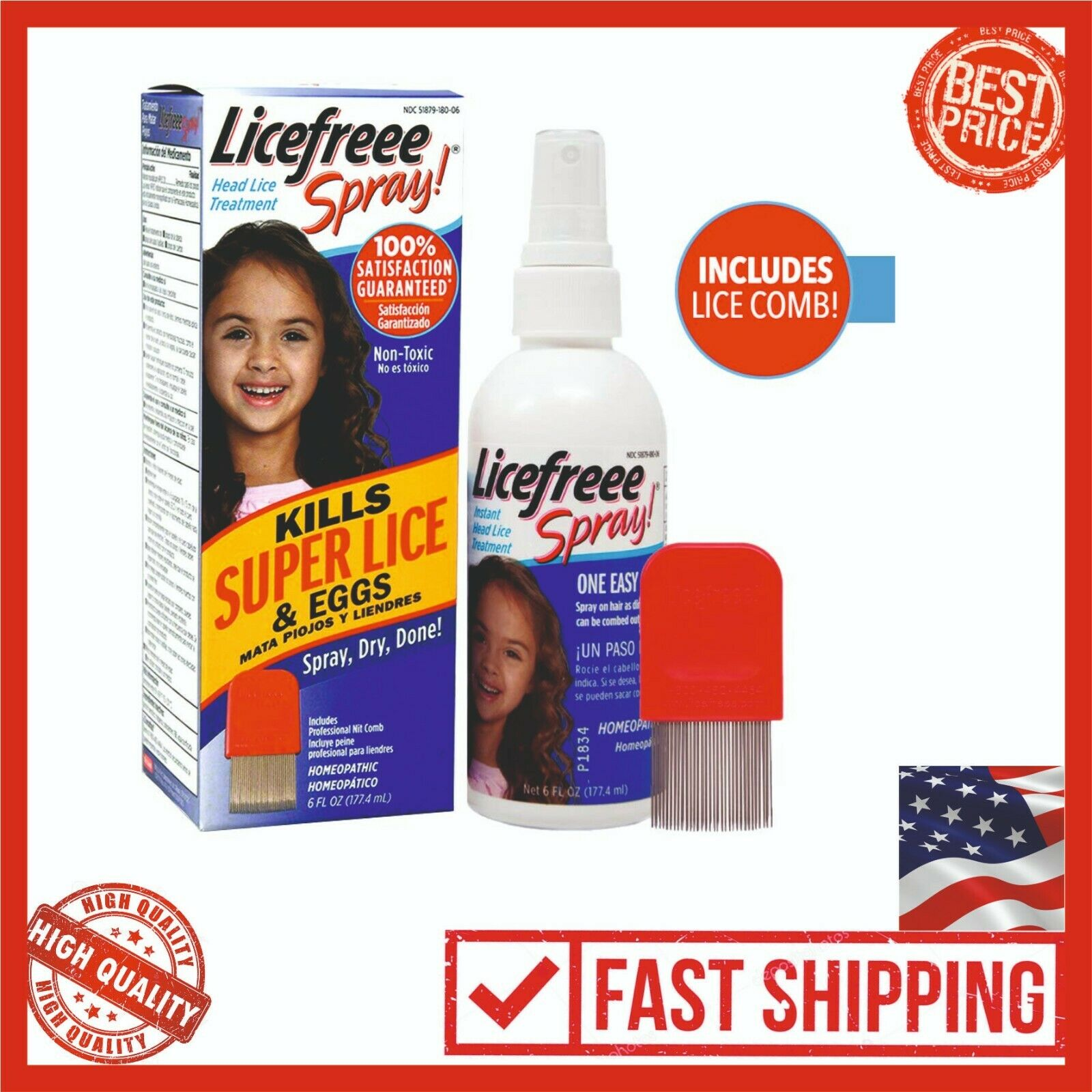 Licefreee Spray 6oz Head Lice Treatment Kids Adults, Include