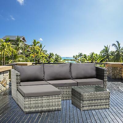 Garden Furniture - Rattan Garden Furniture 4-Seat Corner Lounge Sofa Table Outdoor Patio Mix Grey
