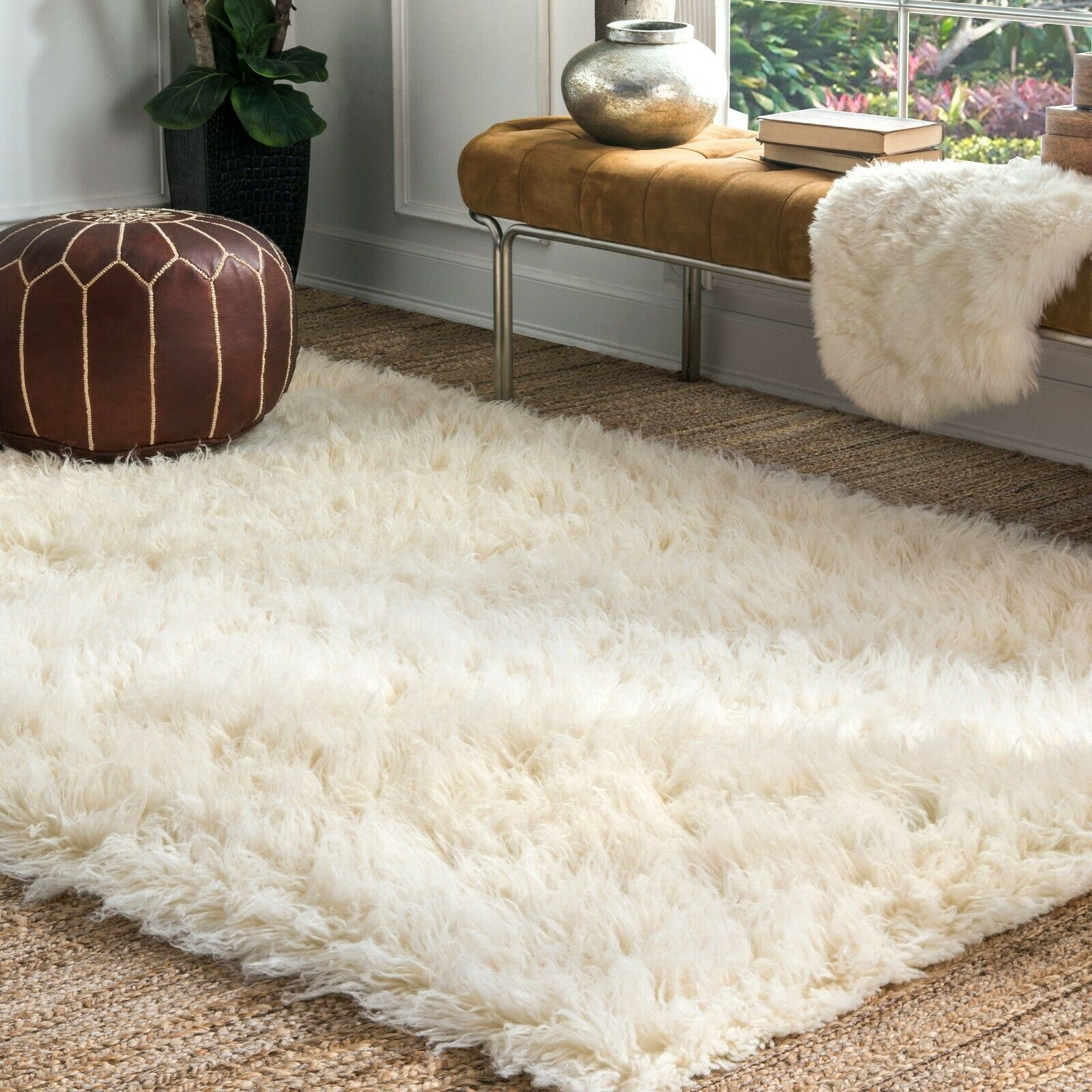 nuLOOM Hand Made Greek Flokati Wool Plush Shag Area Rug in N