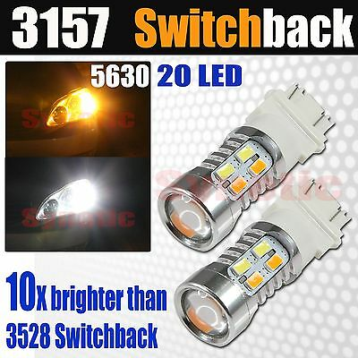 2x 3157 Switchback AmberWhite 6000K 5630 Chip LED Projector Turn Signal Lights