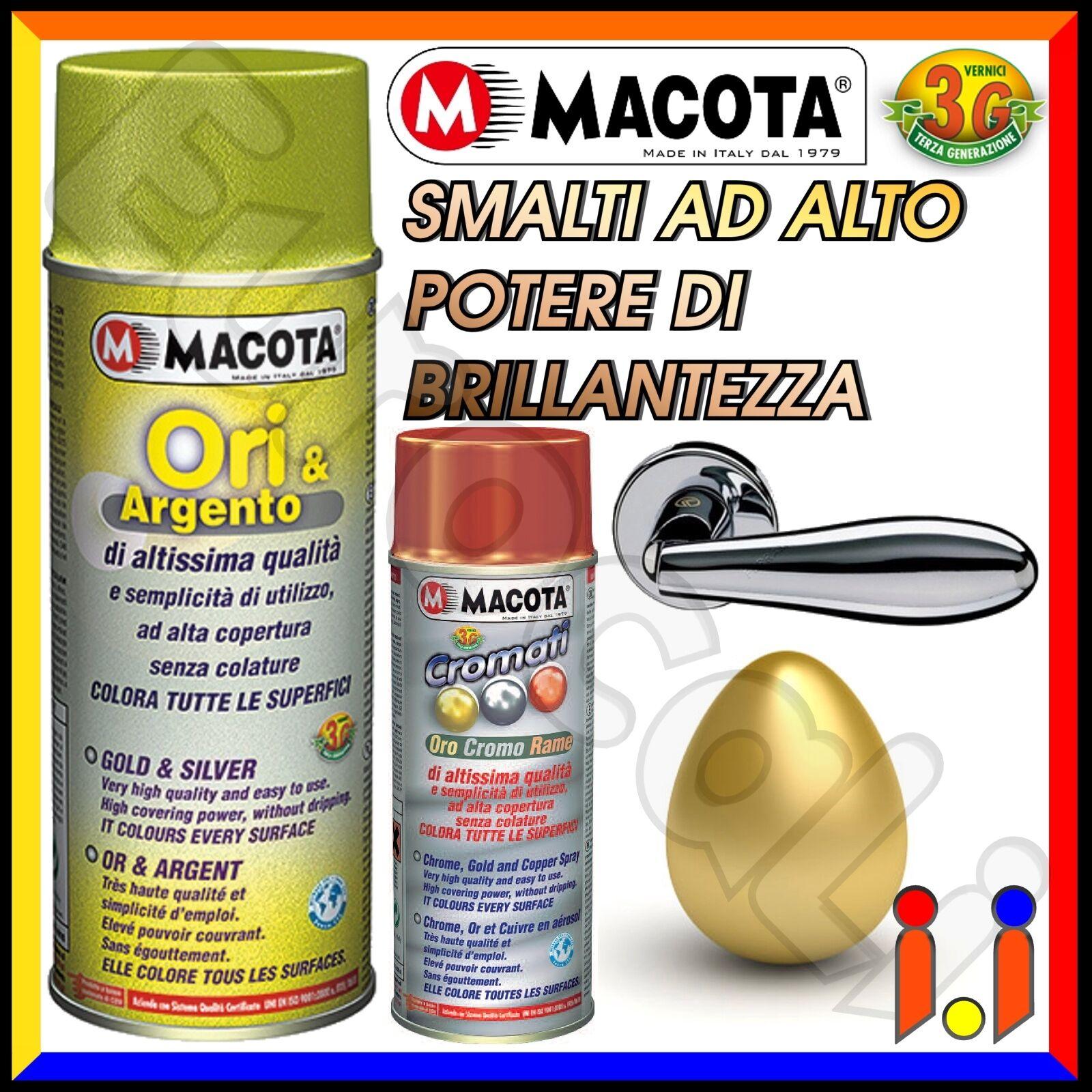MACOTA Vernice Spray 400ml Effetto Oro Argento Cromo Smalto Acrilico NON COLA