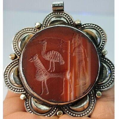 Beautiful silver pendant old near eastern intaglio agate stone #143
