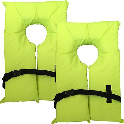 2 Pack Type II Neon Yellow Life Jacket Vest - Adult Universal Boating PFD