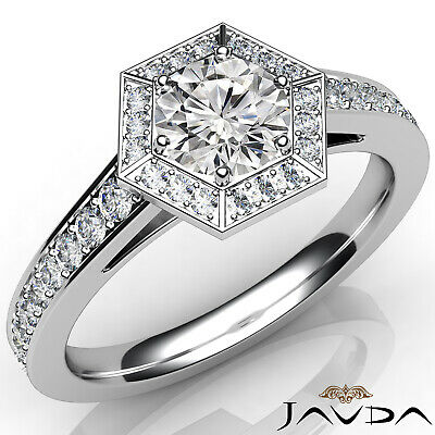 Hexagon Cut Halo Pave Setting Round Diamond Engagement Ring GIA F Color VS2 1 Ct