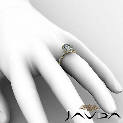 2 ct Oval Diamond Vintage Engagement Halo Classic Ring H VS2 14k White Gold GIA 11