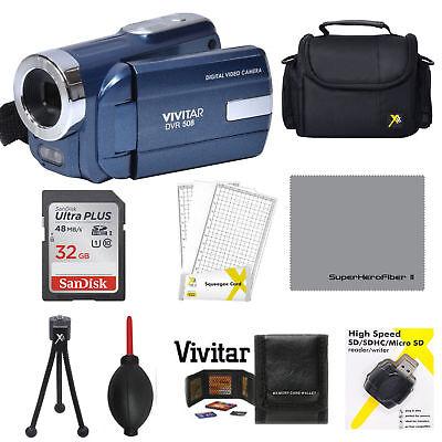 VIVITAR DVR-508 HD DIGITAL VIDEO CAMERA CAMCORDER WITH LIGHT BONUS 32GB KiT BLUE