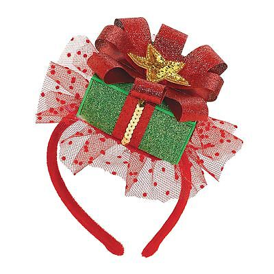 Deluxe Christmas Glitter Fascinator Cute Party Hat Headband Secret Santa Elf Box (Cute Santa Girl Costumes)