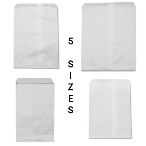 Flat WHITE Paper Bags Kraft Merchandise Party Gift Candy Jewelry Wedding Package