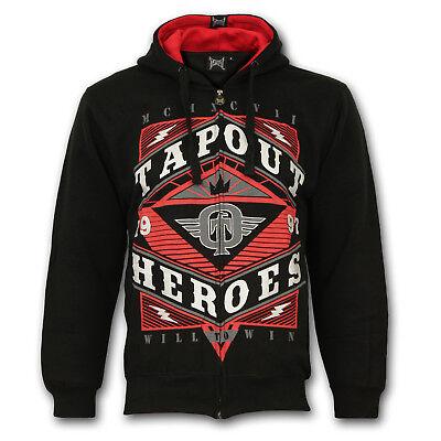 TAPOUT Foil Zip Hoody Jacke Kapuzen Sweatshirt S M L XL MMA Schwarz Schwarze Zip-jacke