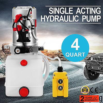 4 Quart Single Acting Hydraulic Pump Dump Trailer Unloading Power Unit Car Lift
