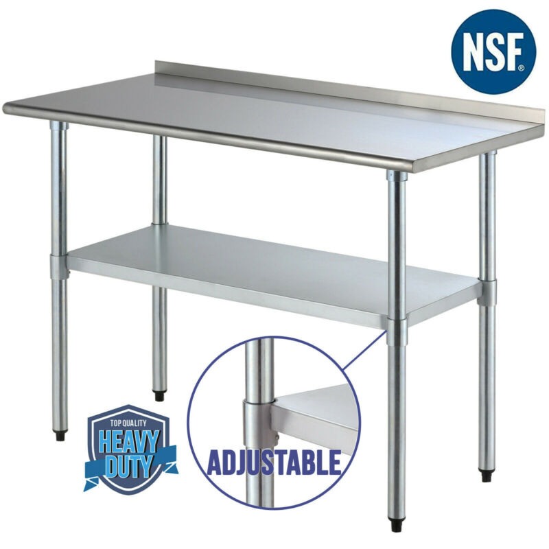 "24""x48"" Stainless Steel Prep & Work Table Food Kitchen Restaurant w/ Backsplash"