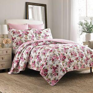 Laura Ashley PINK ROSE FLORAL, Cotton Reversible Bedspread Bedding Quilt Set New