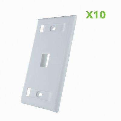 10 X 1-Port Keystone Jack RJ45 CAT Network Faceplate Wall Plate- White w/Windows 1 Port White Wall Plate