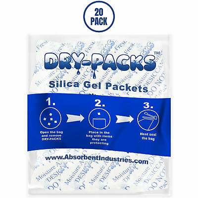 Silica Gel Packets Cotton Desiccant Moisture Dry Humidity Ammo Gun 1/2 Gram 20PK Business & Industrial