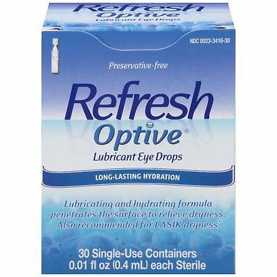Refresh Optive Lubricant Eye Drops Long Lasting 30 Ct Single Use 0.01oz, 11 Pack