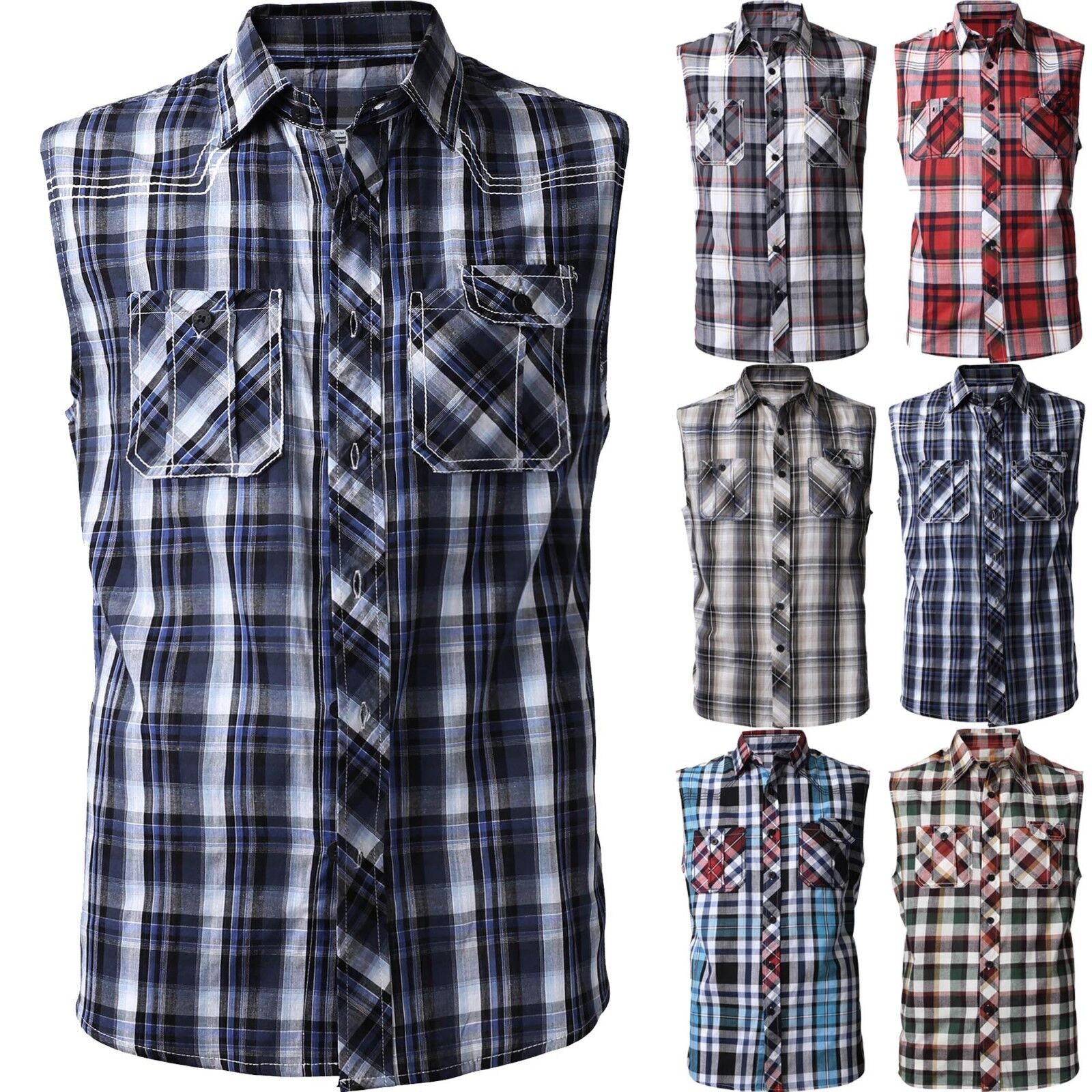 Mens Sleeveless Dress Shirts Button Down Slim Fit Casual Pla