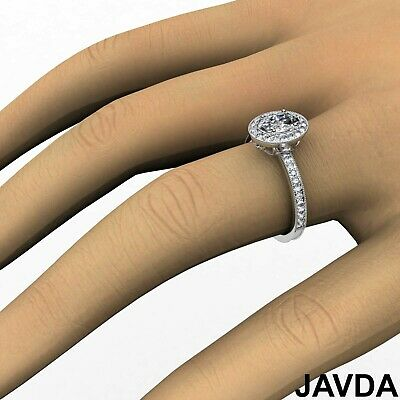 Milgrain Edge Pave Bezel Set Halo Oval Diamond Engagement Ring GIA F VVS2 1.21Ct 6