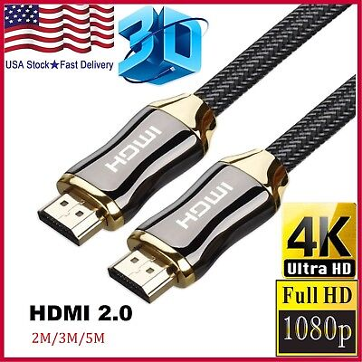 Braided Ultra HD HDMI Cable v2.0 High Speed + Ethernet HDTV 2160p 4K 3D CHROME