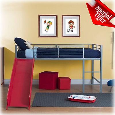 Loft Bed Slide - Kid Loft Bed With Slide Twin Metal Frame Junior Girl Boys Teen Bunk Furniture
