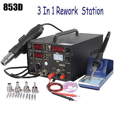 853d 3in1 Soldering Rework Station Solder Iron Smd Hot Air Gun Dc Power Supply O