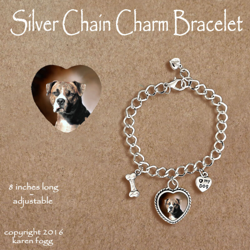 PIT BULL TERRIER DOG Brindle Natural Ears - CHARM BRACELET SILVER CHAIN & HEART