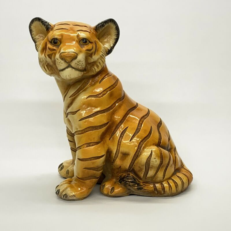 Vintage Marwal Chalkware Bengal Tiger Cub Statue Sculpture Wild Animal Decor 14""