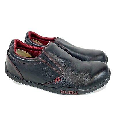 Kuru Women's Kivi Slip On Leather Orthotic Comfort Shoes Size 9E Black-VGC