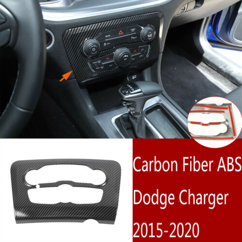 ABS Car Red Navigation Panel Decorative Frame Navigation Screen Panel Protective Frame 1 pcs fit for Dodge Charger 2015 2016 2017 2018 2019 2020