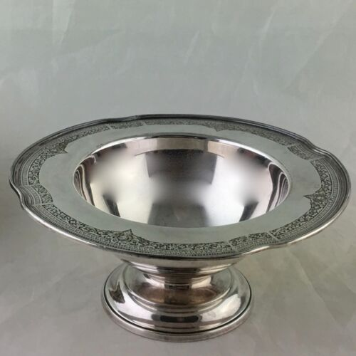ANTIQUE SILVER PLATE BOWL FOOTED COMPOTE VASE ORNATE RIMS