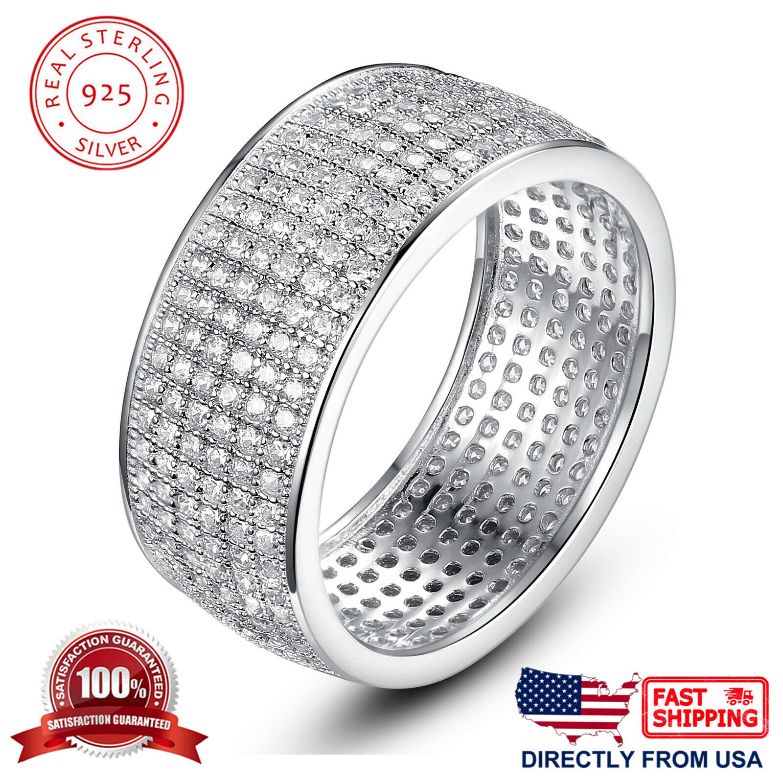 Women's Sterling Silver Six Rows Micro Pave Cubic Zirconia Eternity Ring Fine Jewelry