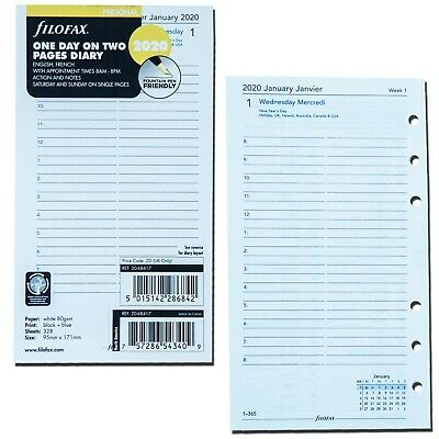 2020 Filofax Personal Size Refill 20-68417 One Day On Two Pages 95mm X 171mm