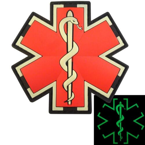 EMS EMT paramedic medic PVC glow dark rubber morale touch fastener patch