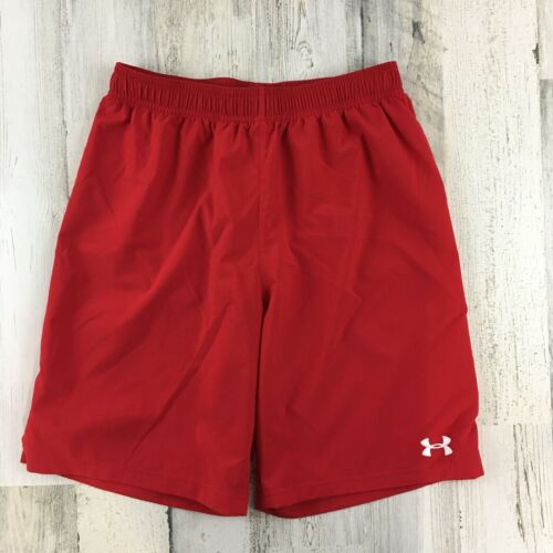 Boys Under Armour Red Athletic Shorts Loose Sz L YLG