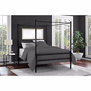 metal canopy platform bed frame headboard bedroom furniture modern full size - Metal Canopy Bed Frame