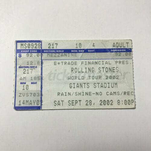 Rolling Stones World Tour Giants Stadium Concert Ticket Stub Vintage 2002