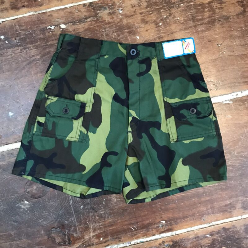 "Vintage 80s Camouflage Bush Shorts Boys Youth 16 NOS New 26"" Waist"