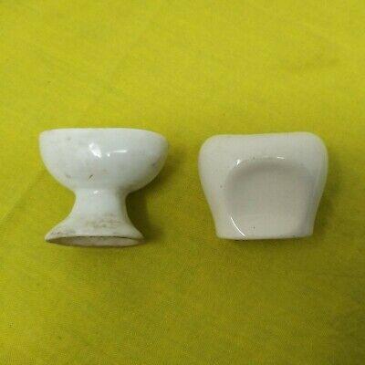2 X Vintage White CERAMIC Pottery Eyebath EYE WASH BATH OPTICAL TOOLS