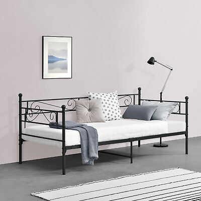 Metallbett Bettgestell Bett Lattenrost Metall Schlafzimmer Schwarz 90x200cm