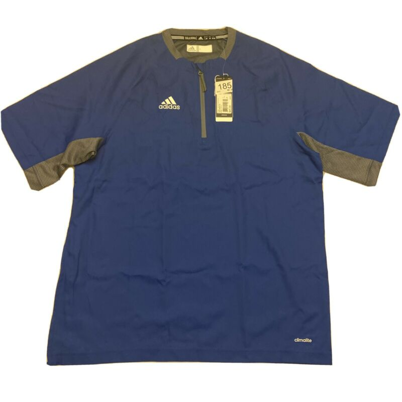 Adidas Mens Climalite Fielders Choice SS 1/4 Zip Batting Jacket Blue Gray Sz M
