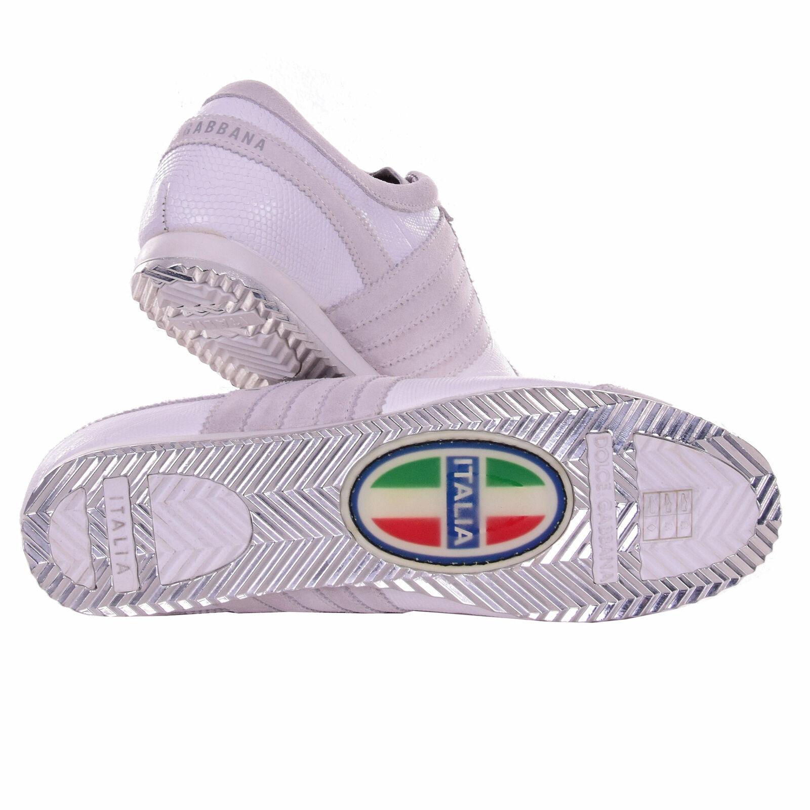 DOLCE /& GABBANA Rare Lizard Reptile Suede Sneakers Shoes ITALIA Logo White 08123