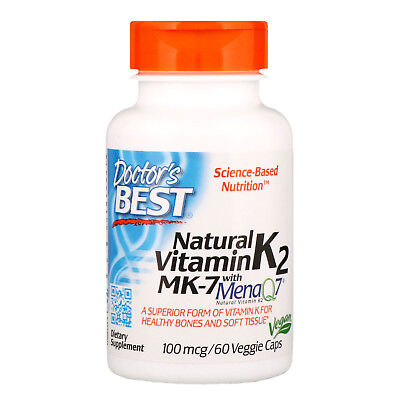 Doctor s Best  Natural Vitamin K2 MK-7 with MenaQ7  100 mcg  60 Veggie (Best Vegetable Naturals)