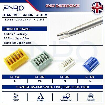 20 X Cartridges Laparoscopic Lt400 Titanium Ligation Clips Ethicon Clip L Lt-400
