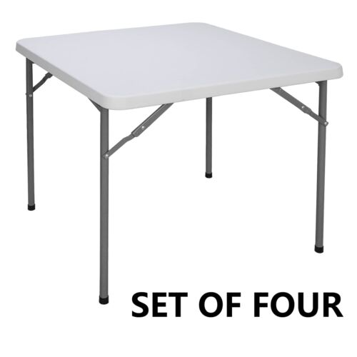 4pcs 3ft Height Adjustable Craft Camping and Utility Folding Carry Table White Furniture