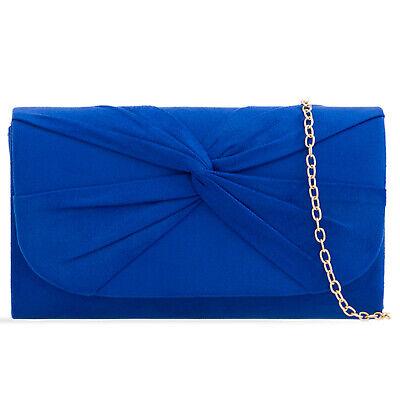 Plissee Damen Tasche (Königsblau Plissee Wildleder Hochzeit Damen Party Clutch Handtasche)