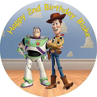 """Toy Story Buzz and Woody Edible  personalised icing sheet cake topper 7.5"""" Round"""