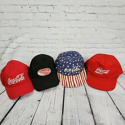 Lot 4 Vintage Coca-cola Graphic Snapback Trucker Hats
